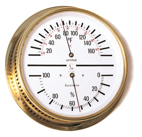 TEMP/HUMIDITY GAUGE - Dial w/ White Face & Brass Case