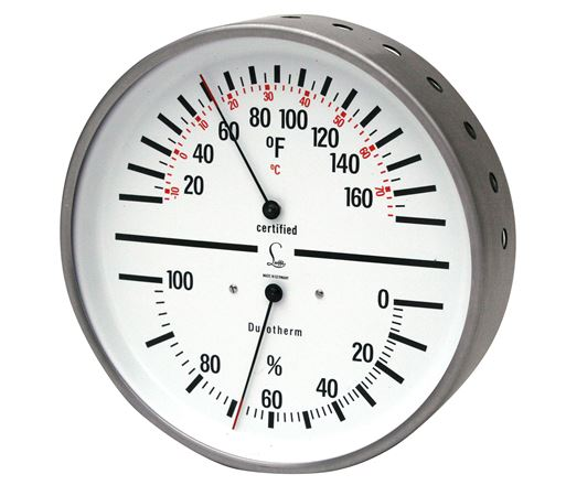 HYGROMETER / THERMOMETER Humidity and Temp - Dial w/White Face & Stainless steel case
