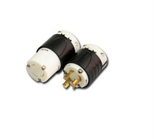 LOCKING PLUG 2 Pole 3 Wire 30A-250V Blk/Wht