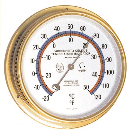 THERMOMETER - Temp Dial w/ color graph & brass case