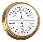 TEMP/HUMIDITY GAUGE - Dial w/ White Face and Brass Case