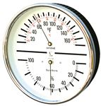 HYGROMETER/THERMOMETER Humidity and Temp - Dial w/White Face and Stainless steel case
