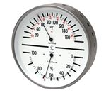 HYGROMETER / THERMOMETER Humidity and Temp - Dial w/White Face and Stainless steel case